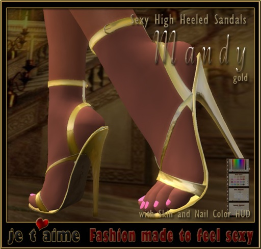 Je taime Sexy High Heeled Sandals *Mandy* - gold